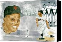 Mlb Painting Canvas Prints - Willie Mays - The Greatest Canvas Print by George  Brooks