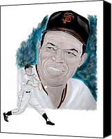San Francisco Giants Painting Canvas Prints - Willie Mays Canvas Print by Steve Ramer