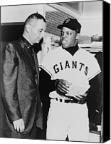 Baseball Players Canvas Prints - Willie Mays Talks To Sportscaster Canvas Print by Everett