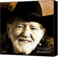 Willie Canvas Prints - Willie Nelson Canvas Print by Arne Hansen