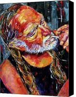 Country Painting Canvas Prints - Willie Nelson Booger Red Canvas Print by Debra Hurd