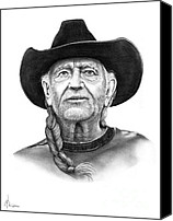Country Drawings Canvas Prints - Willie  Nelson Canvas Print by Murphy Elliott