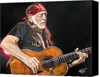 Willie Canvas Prints - Willie Nelson Canvas Print by Tom Carlton