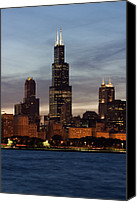 Sky Line Canvas Prints - Willis Tower at Dusk aka Sears Tower Canvas Print by Adam Romanowicz