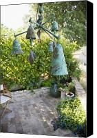Copper Bells Canvas Prints - Wind Chimes in Garden Canvas Print by Andersen Ross
