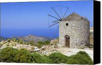 East Coast Canvas Prints - wind mill Naxos Canvas Print by Joana Kruse