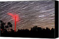 Startrail Canvas Prints - Wind Turbine Under Star Trails Canvas Print by Laurent Laveder