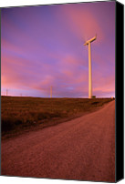 Dirt Road Canvas Prints - Wind Turbines At Night Canvas Print by photography by Spencer Bowman