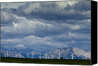 Pincher Canvas Prints - Wind Turbines At Pincher Creek Canvas Print by Bob Gibbons