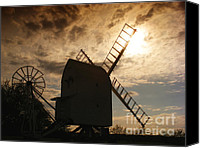 Natural Storm Canvas Prints - Windmill at dusk  Canvas Print by Pixel Chimp