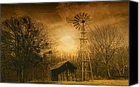 Barn Digital Art Canvas Prints - Windmill at Sunset Canvas Print by Iris Greenwell
