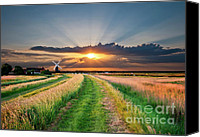 Derelict Canvas Prints - Windmill At Sunset Canvas Print by Meirion Matthias