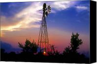 Rural Texas Canvas Prints - Windmill at Sunset Canvas Print by Stephen Anderson