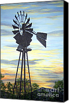Old Fashioned Painting Canvas Prints - Windmill Capture the Wind Canvas Print by Judy Filarecki