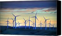 Pincher Canvas Prints - Windmill Farm Outside Of Pincher Creek Canvas Print by Robert Postma