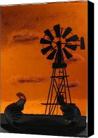 Fused Glass Art Canvas Prints - Windmill Canvas Print by Lisa Kohn