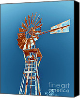 Abstract Fashion Art Canvas Prints - Windmill Rust orange with blue sky Canvas Print by Rebecca Margraf