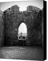 Ruins Canvas Prints - Window at Fuerty Church Roscommon Ireland Canvas Print by Teresa Mucha