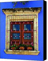 Tlaquepaque Canvas Prints - Window in Blue with Baubles Canvas Print by Olden Mexico