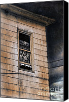 Haunted House Photo Canvas Prints - Window in Old House Stormy Sky Canvas Print by Jill Battaglia