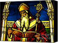 Glass Art Glass Art Canvas Prints - Window of Saint Agustine Canvas Print by Pg Reproductions