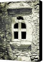Stone Wall Canvas Prints - Window Of Stone Canvas Print by Joana Kruse