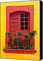 Railing Canvas Prints - Window on Mexican house Canvas Print by Elena Elisseeva