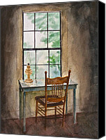 Oil Lamp Painting Canvas Prints - Window Seat Canvas Print by Frank SantAgata