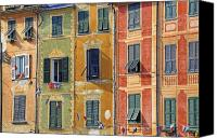 Houses Canvas Prints - Windows of Portofino Canvas Print by Joana Kruse