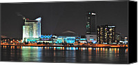 Windsor Canvas Prints - Windsor Night Skyline 0915 Canvas Print by Michael Peychich