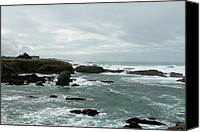 Mendocino Coast Canvas Prints - Windswept Abode Canvas Print by Lorraine Devon Wilke
