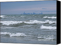 Indiana Dunes Canvas Prints - Windy City Skyline Canvas Print by Ann Horn