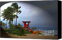 Beach  Wind Surfing Canvas Prints - Windy Day in Haleiwa Canvas Print by Mark Gilman