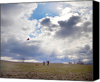 Kites Digital Art Canvas Prints - Windy Kite Day Canvas Print by Bill Cannon