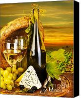 Outdoor Still Life Canvas Prints - Wine and cheese romantic dinner outdoor Canvas Print by Anna Omelchenko