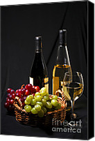 Basket Photo Canvas Prints - Wine and grapes Canvas Print by Elena Elisseeva