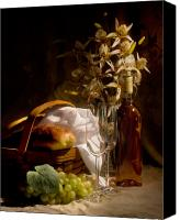 Still Life Tapestries Textiles Canvas Prints - Wine and Romance Canvas Print by Tom Mc Nemar