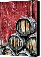 Winery Canvas Prints - Wine Barrels Canvas Print by Doug Hockman Photography