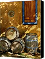 Wine Canvas Prints - Wine Barrels Canvas Print by Karen Fleschler