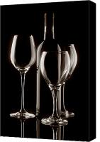 Glass Canvas Prints - Wine Bottle and Wineglasses Silhouette II Canvas Print by Tom Mc Nemar