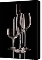 Wine Glass Photo Canvas Prints - Wine Bottle and Wineglasses Silhouette Canvas Print by Tom Mc Nemar