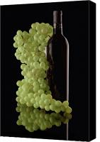 Wine Glass Photo Canvas Prints - Wine Bottle with Grapes Canvas Print by Tom Mc Nemar