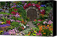 Flowers Photo Canvas Prints - Wine celler gates  Canvas Print by Garry Gay