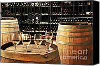 Winery Canvas Prints - Wine glasses and barrels Canvas Print by Elena Elisseeva