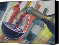 Pouring Painting Canvas Prints - Wine Pour Canvas Print by Donna Tuten
