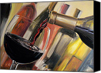Pouring Painting Canvas Prints - Wine Pour II Canvas Print by Donna Tuten