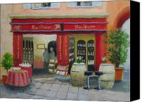 Vendor Painting Canvas Prints - Wine Shop - Tasting Bar Canvas Print by Robert Rohrich