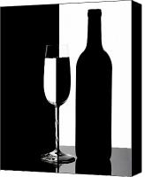 Wine Glass Photo Canvas Prints - Wine Silhouette Canvas Print by Tom Mc Nemar