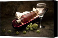 Photography Studio Canvas Prints - Wine with Grapes and Glass Still Life Canvas Print by Tom Mc Nemar