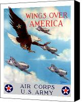 World War I Digital Art Canvas Prints - Wings Over America Canvas Print by War Is Hell Store